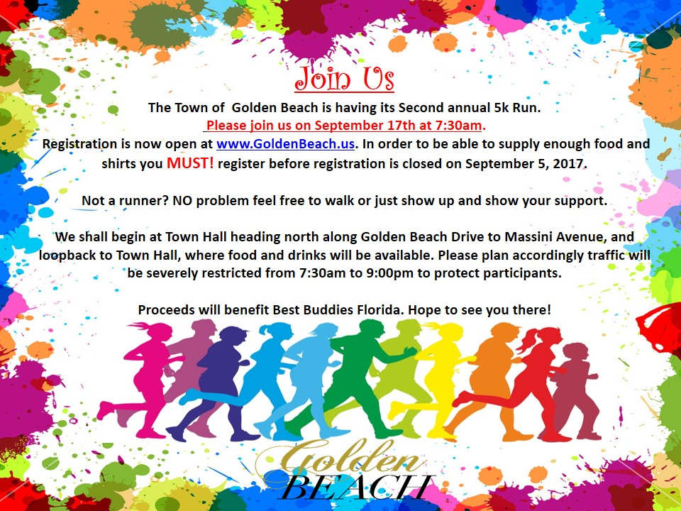 Click Image To Register For The Town Of Golden Beach 5k Run
